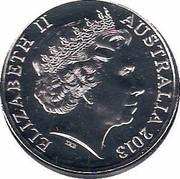 Australia 20 Cents Platypus (Colorized) 2013 KM# 403c ELIZABETH II AUSTRALIA 2013 IRB coin obverse
