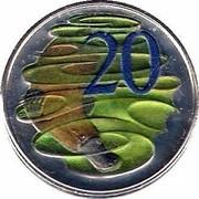 Australia 20 Cents Platypus (Colorized) 2013 KM# 403c 20 SD coin reverse