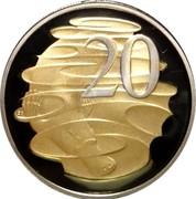 Australia 20 Cents Platypus (Gilded) 2013 KM# 403D 20 SD coin reverse