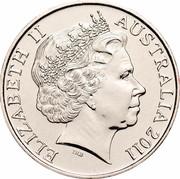Australia 20 Cents (Riding on the Sheep's Back) KM# 1502 ELIZABETH II AUSTRALIA 2011 IRB coin obverse