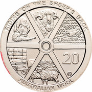 Australia 20 Cents (Riding on the Sheep's Back) KM# 1502 RIDING ON THE SHEEP'S BACK 20 G AUSTRALIAN WOOL coin reverse