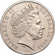 Australia 20 Cents Sir Donald Bradman 2001 KM# 589 ELIZABETH II AUSTRALIA 2001 IRB coin obverse