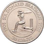 Australia 20 Cents Sir Donald Bradman 2001 KM# 589 1908 SIR DONALD BRADMAN 2001 20 CENTS coin reverse