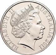 Australia 20 Cents War Historians 2011 KM# 1648 ELIZABETH II AUSTRALIA 2011 IRB coin obverse