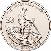 Australia 20 Cents War Historians 2011 KM# 1648 AUSTRALIA REMEMBERS 20 WAR HISTORIANS coin reverse