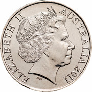 Australia 20 Cents Wedding of Prince William and Catherine Middleton 2011 KM# 1566 ELIZABETH II AUSTRALIA 2011 IRB coin obverse