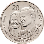 Australia 20 Cents Wedding of Prince William and Catherine Middleton 2011 KM# 1566 20 HRH PRINCE WILLIAM - MISS CATHERINE MIDDLETON coin reverse