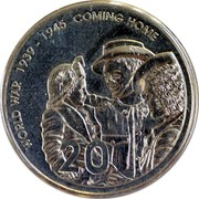 Australia 20 Cents World War - Comming Home 2005 B Proof KM# 745A WORLD WAR 1939-1945 COMMING HOME 20 coin reverse