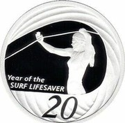Australia 20 Cents Year of the Surf Lifesaver 2007 B Proof KM# 820a YEAR OF THE SURF LIFESAVER 20 coin reverse