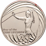 Australia 20 Cents (Year of the Surf Lifesaver) KM# 820 YEAR OF THE SURF LIFESAVER 20 coin reverse