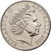 Australia 20 Cents Year of Volunteers 2011 KM# 1634 ELIZABETH II AUSTRALIA 2011 IRB coin obverse