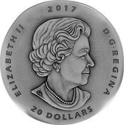 Canada 20 Dollars Ancient Canada - Ornithomimus 2017 ELIZABETH II 2017 D ∙ G ∙ REGINA 20 DOLLARS coin obverse