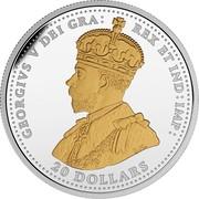 Canada 20 Dollars First World War Battlefront Series - Battle of Vimy Ridge 2017 Proof GEORGIVS V DEI GRA : REX ETIND: IMP: 20 DOLLARS coin obverse