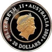 Australia 20 Dollars Golden Jubilee Coronation 2003 KM# 687 ELIZABETH II AUSTRALIA 2003 20 DOLLARS IRB coin obverse