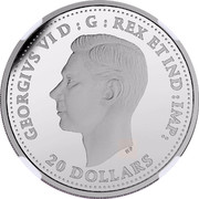Canada 20 Dollars Second World War Battlefront Series - Battle of Dieppe 2017 Proof GEORGIVS VI D: G: REGINA REX ET IND: IMP: 20 DOLLARS coin obverse