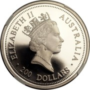 Australia 200 Dollars Koala 1995 Proof KM# 288 200 DOLLARS AUSTRALIA ELIZABETH II coin obverse
