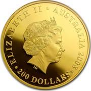 Australia 200 Dollars Koalas on a tree branch 2008 KM# 1876 ELIZABETH II AUSTRALIA 2008 200 DOLLARS IRB coin obverse