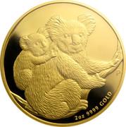 Australia 200 Dollars Koalas on a tree branch 2008 KM# 1876 2 OZ 9999 GOLD P SB coin reverse