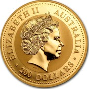 Australia 200 Dollars Lunar Horse 2002 KM# 1336 ELIZABETH II AUSTRALIA 200 DOLLARS IRB coin obverse