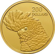 Australia 200 Dollars Red Tailed Cockatoo 2006 Proof KM# 2006 200 DOLLARS coin reverse
