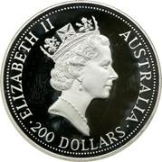 Australia 200 Dollars The Australian Koala 1992 KM# 185 ELIZABETH II AUSTRALIA 200 DOLLARS RDM coin obverse