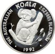 Australia 200 Dollars The Australian Koala 1992 KM# 185 THE AUSTRALIAN KOALA 2 OZ 9995 PLATINUM 1992 P coin reverse