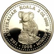 Australia 200 Dollars The Australian Koala 1998 KM# 461 THE AUSTRALIAN KOALA 2 OZ. 9995 PLATINUM 1999 P100 coin reverse