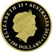 Australia 200 Dollars The Land Down Under 2013 Proof KM# 2042 ELIZABETH II AUSTRALIA 2013 200 DOLLARS IRB coin obverse