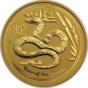 Australia 200 Dollars Year of the Snake 2013 KM# 1999 YEAR OF THE SNAKE P coin reverse