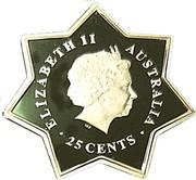 Australia 25 Cents Parliament House 2001 KM# 599 ELIZABETH II AUSTRALIA 25 CENTS IRB coin obverse