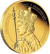 Australia 25 Dollars HM Queen Elizabeth II - 60th Anniversary of Coronation 2013 KM# 1928 1/4 OZ 9999 GOLD 1953 - 2013 ANNIVERSARY OF CORONATION P coin reverse