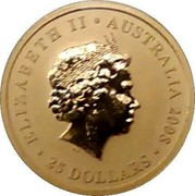 Australia 25 Dollars (Kangaroo bounding in grassland 2008 P KM# 1773 ELIZABETH II AUSTRALIA 2008 25 DOLLARS coin obverse