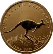 Australia 25 Dollars (Kangaroo bounding in grassland 2008 P KM# 1773 AUSTRALIAN KANGAROO 1/4OZ. 9999 GOLD coin reverse