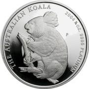 Australia 25 Dollars Koala 2004 Proof KM# 932 THE AUSTRALIAN KOALA 2004 1/4 OZ. 9995 PLATINUM P TF coin reverse