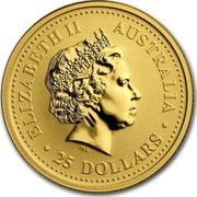 Australia 25 Dollars Lunar Dog 2006 KM# 1892 ELIZABETH II AUSTRALIA 25 DOLLARS IRB coin obverse