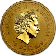 Australia 25 Dollars Lunar Rabbit 1999 KM# 427 ELIZABETH II AUSTRALIA 25 DOLLARS IRB coin obverse