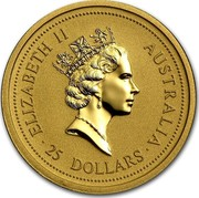 Australia 25 Dollars Lunar Rat 1996 KM# 299 ELIZABETH II AUSTRALIA 25 DOLLARS RDM coin obverse