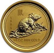 Australia 25 Dollars Lunar Rat 1996 KM# 299 1996 1/4 OZ 9999 GOLD coin reverse