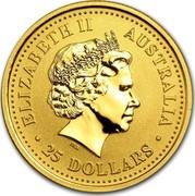 Australia 25 Dollars Lunar Rooster (Colorized) 2005 KM# 795a ELIZABETH II AUSTRALIA 25 DOLLARS IRB coin obverse