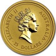 Australia 25 Dollars Lunar Tiger 1998 KM# 507 ELIZABETH II AUSTRALIA 25 DOLLARS RDM coin obverse