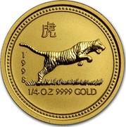 Australia 25 Dollars Lunar Tiger 1998 KM# 507 1998 1/4 OZ 9999 GOLD coin reverse