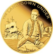 Australia 25 Dollars The Land Down Under - Captain James Cook 2013 KM# 1942 THE LAND DOWN UNDER 1/4 OZ 9999 GOLD P TV coin reverse