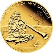 Australia 25 Dollars The Land Down Under - Didgeridoo 2013 KM# 1921 THE LAND DOWN UNDER 1/4 OZ 9999 GOLD P coin reverse