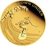 Australia 25 Dollars The Land Down Under - Surfing 2013 KM# 2052 THE LAND DOWN UNDER 1/4 OZ 9999 GOLD P AH coin reverse