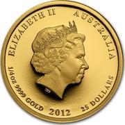 Australia 25 Dollars Year of the Dragon 2012 KM# 1672 ELIZABETH II AUSTRALIA 1/4 OZ 9999 GOLD 2012 25 DOLLARS IRB coin obverse