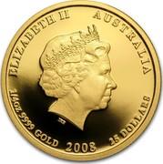 Australia 25 Dollars Year of the Mouse 2008 KM# 1894 ELIZABETH II AUSTRALIA 1/4 OZ 9999 GOLD 2008 25 DOLLARS IRB coin obverse
