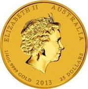 Australia 25 Dollars Year of the Snake (Colorized) 2013 KM# 2090 ELIZABETH II AUSTRALIA 1/4 OZ 9999 GOLD 2013 25 DOLLARS IRB coin obverse