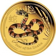 Australia 25 Dollars Year of the Snake (Colorized) 2013 KM# 2090 YEAR OF THE SNAKE P coin reverse
