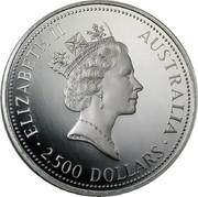 Australia 2500 Dollars (Koala) KM# 158 ELIZABETH II AUSTRALIA 2,500 DOLLARS coin obverse