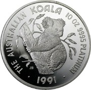 Australia 2500 Dollars (Koala) KM# 158 THE AUSTRALIAN KOALA 10 OZ 9995 PLATINUM JB P 1991 coin reverse